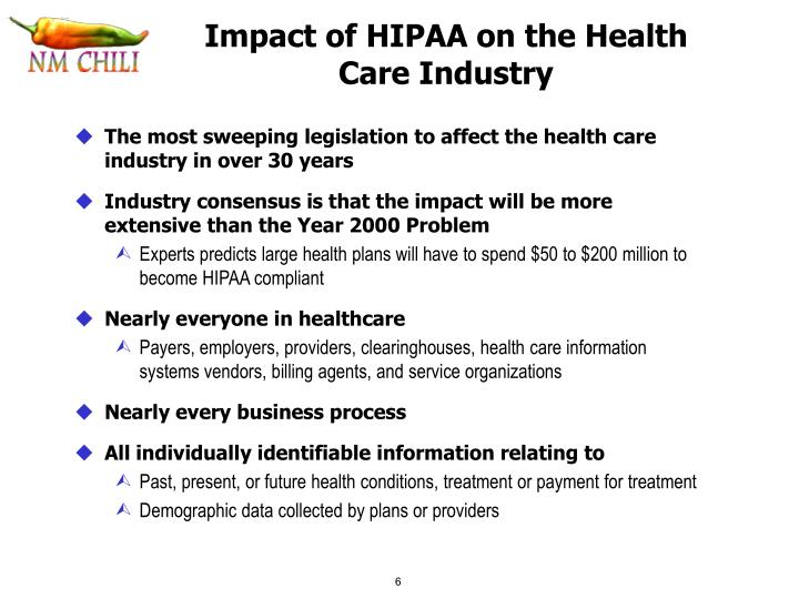 Impact of HIPAA on the Health Care Industry