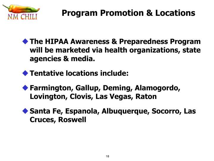 Program Promotion & Locations