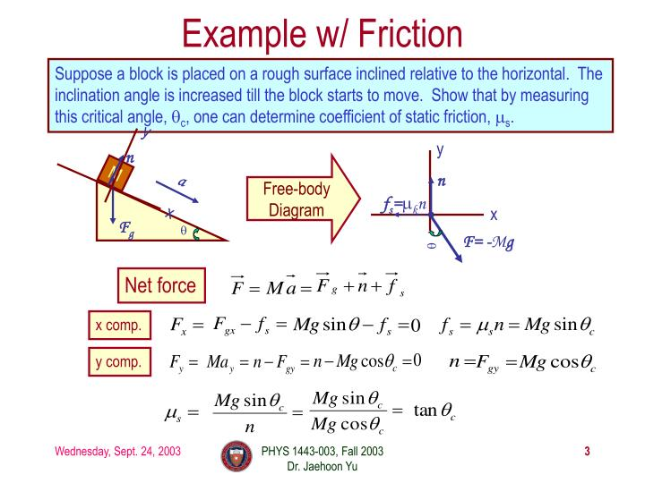 Example w friction