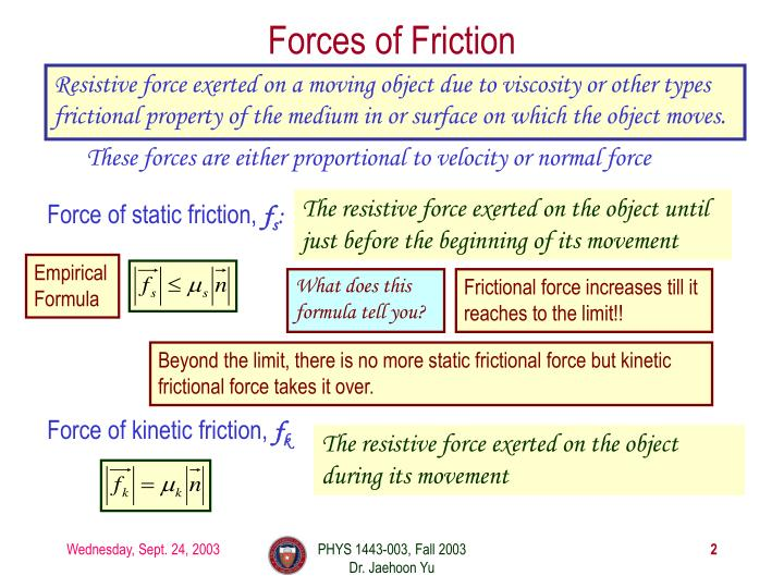 Forces of friction