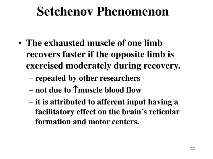 Setchenov Phenomenon