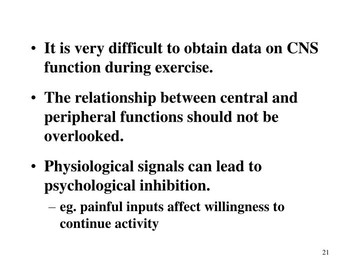 It is very difficult to obtain data on CNS function during exercise.
