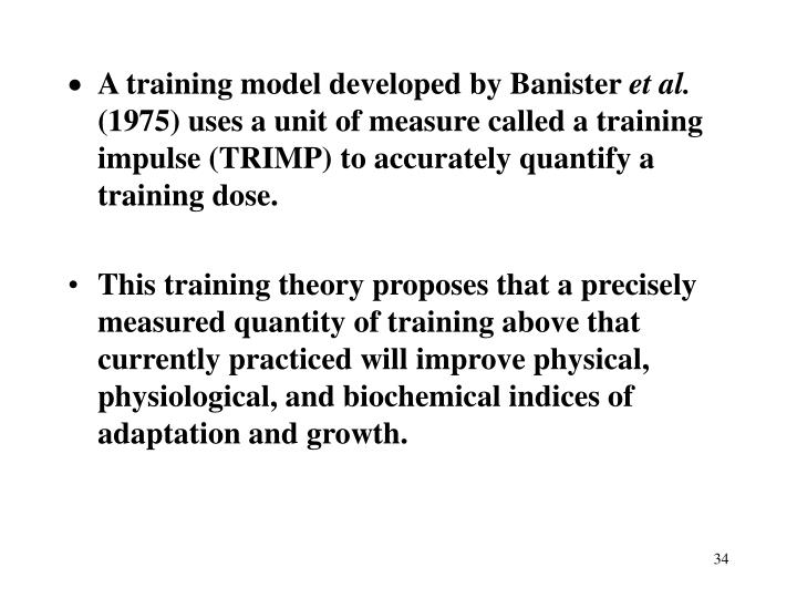 A training model developed by Banister