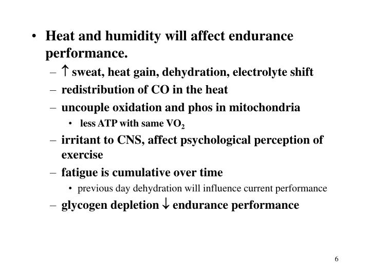 Heat and humidity will affect endurance performance.