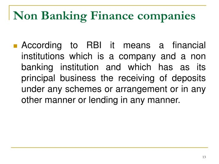 Non Banking Finance companies