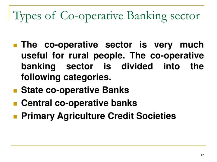 Types of Co-operative Banking sector