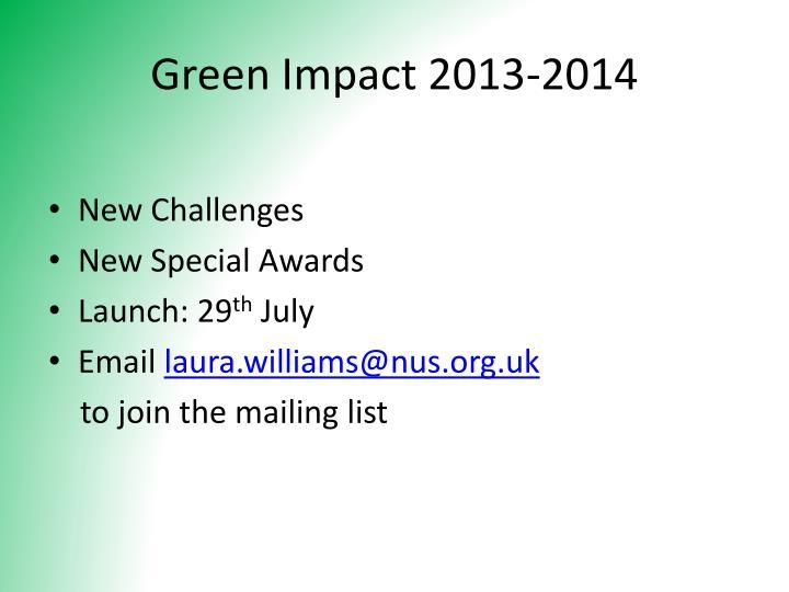 Green Impact 2013-2014