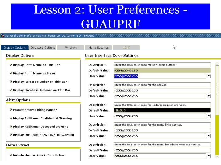Lesson 2: User Preferences -GUAUPRF