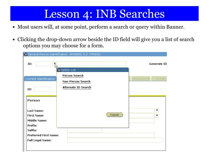 Lesson 4: INB Searches