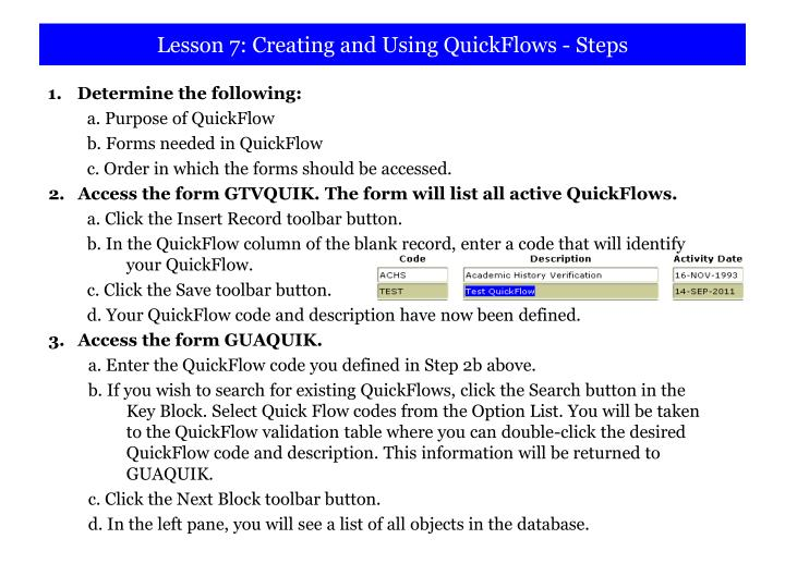 Lesson 7: Creating and Using QuickFlows - Steps