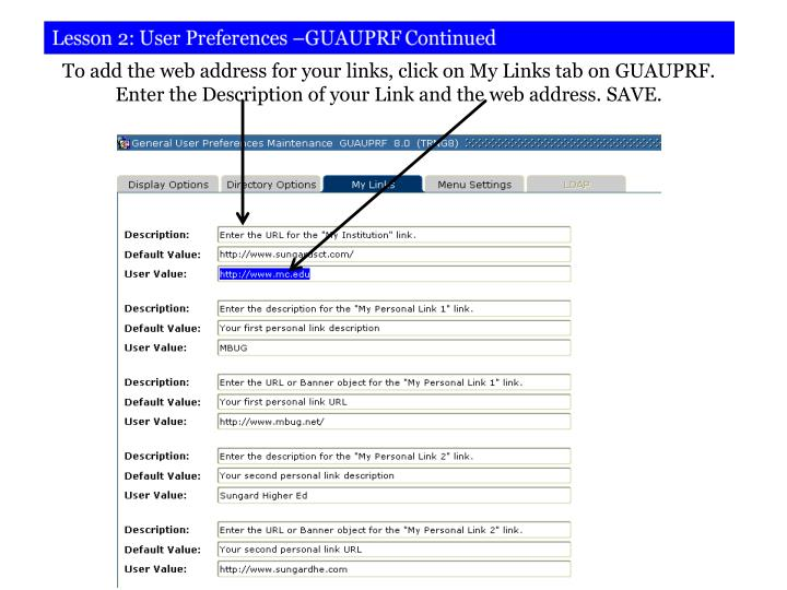 To add the web address for your links, click on My Links tab on GUAUPRF.