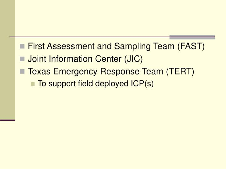 First Assessment and Sampling Team (FAST)