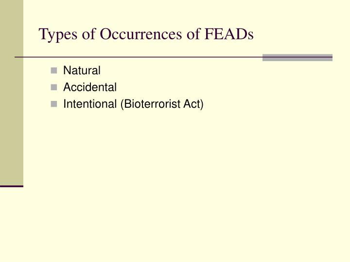 Types of Occurrences of FEADs