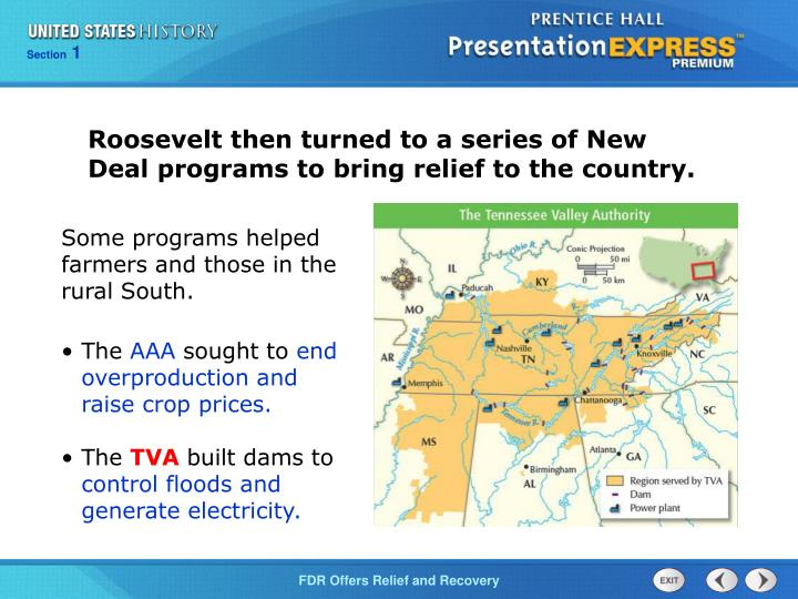 Roosevelt then turned to a series of New Deal programs to bring relief to the country.