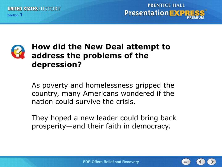 How did the New Deal attempt to address the problems of the depression?