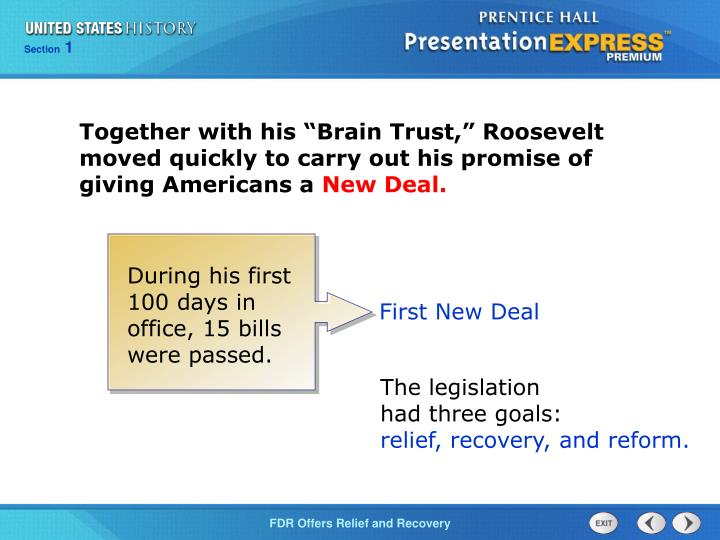 "Together with his ""Brain Trust,"" Roosevelt moved quickly to carry out his promise of giving Americans a"