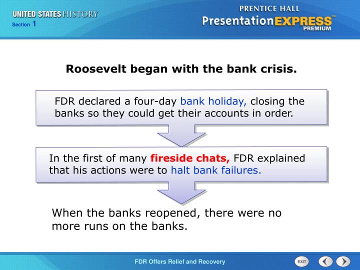 Roosevelt began with the bank crisis.