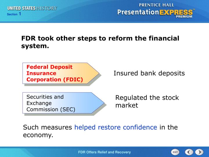 FDR took other steps to reform the financial system.