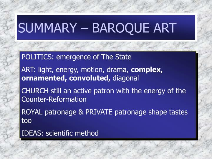 SUMMARY – BAROQUE ART