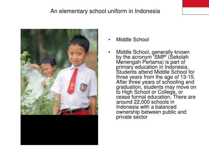An elementary school uniform in Indonesia