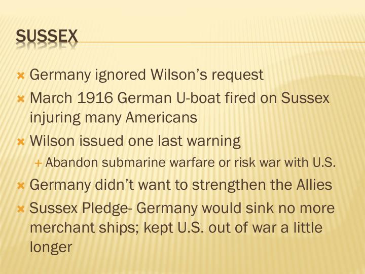 Germany ignored Wilson's request