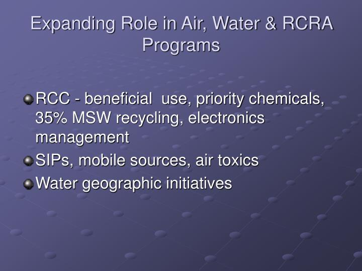 Expanding Role in Air, Water & RCRA Programs