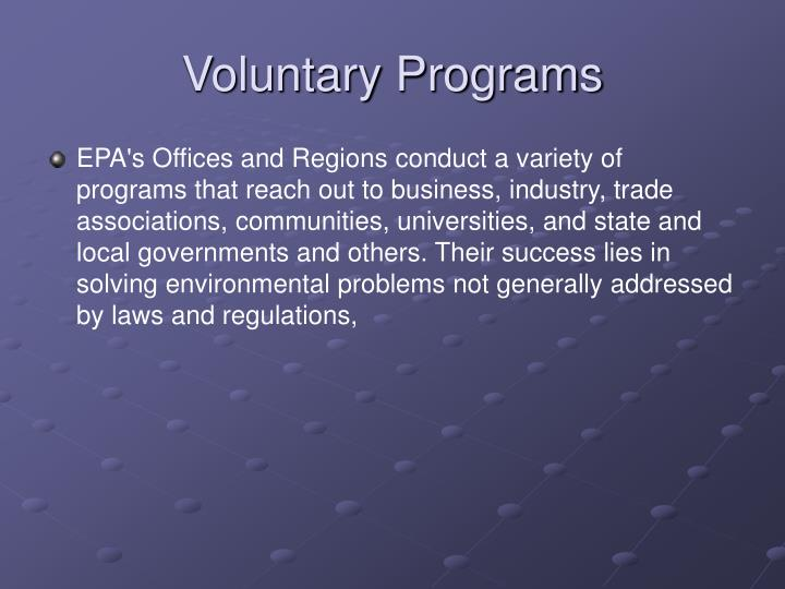 Voluntary Programs
