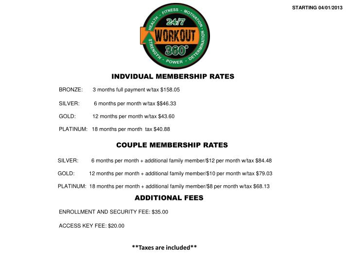 Couple membership rates