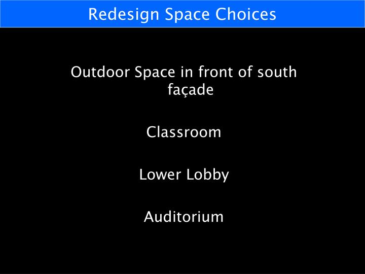 Redesign Space Choices