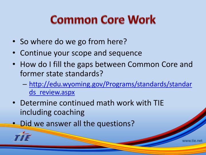 Common Core Work