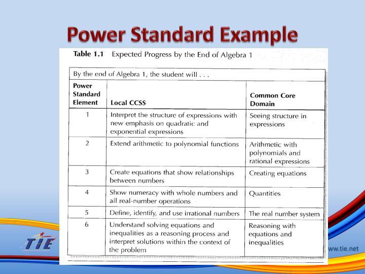 Power Standard Example