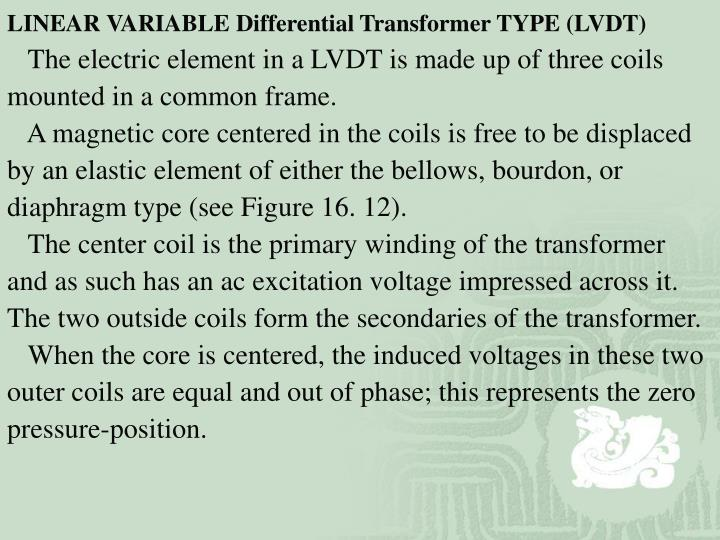 LINEAR VARIABLE Differential Transformer TYPE (LVDT)