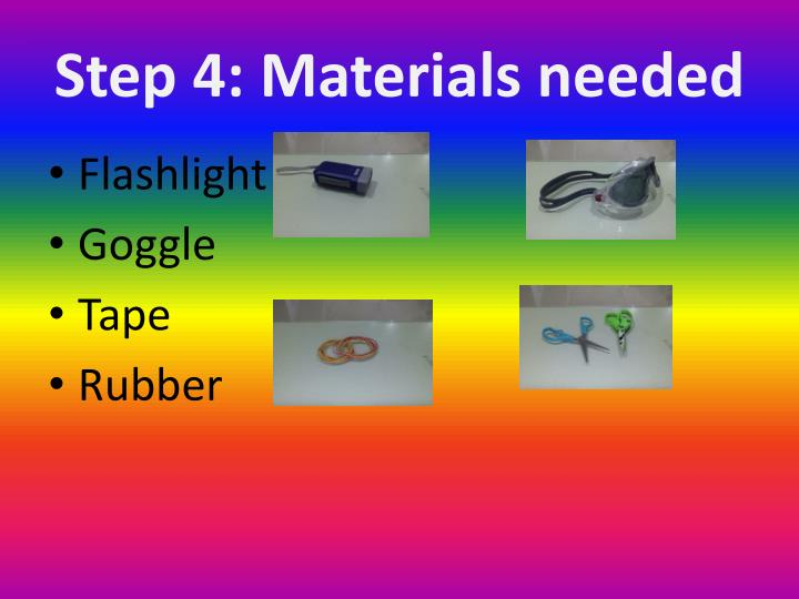 Step 4: Materials needed