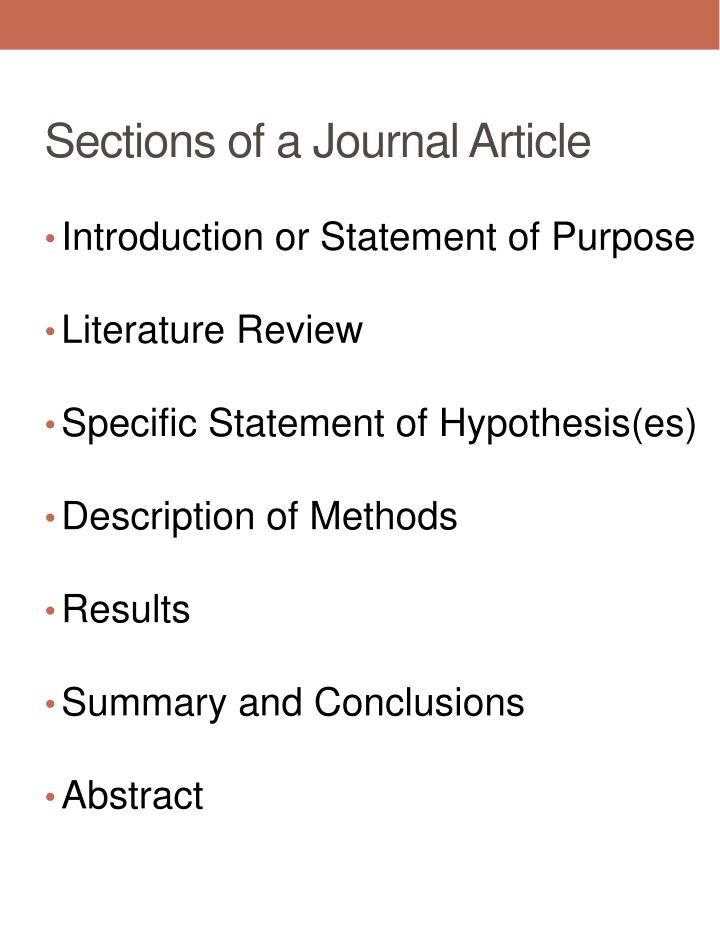 Sections of a Journal Article