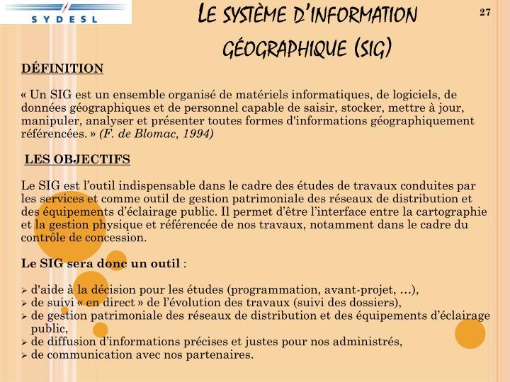 Le système d'information géographique (