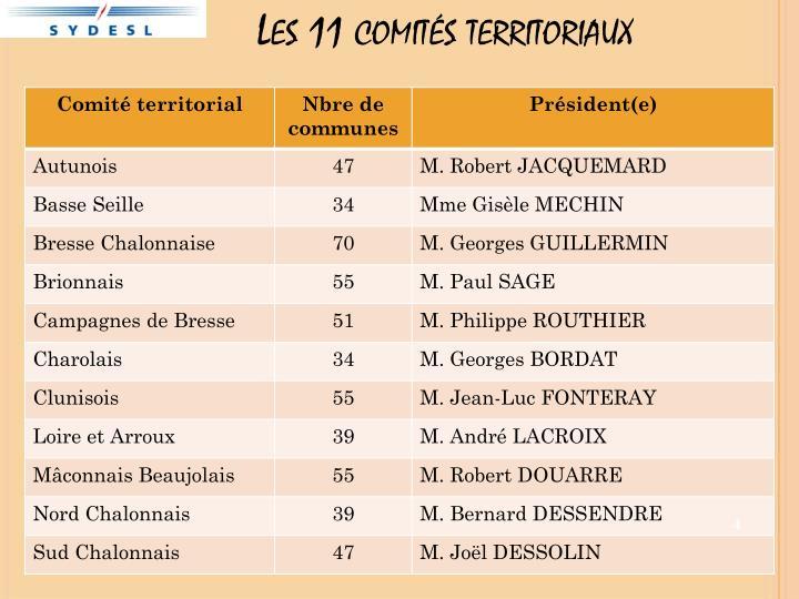 Les 11 comités territoriaux