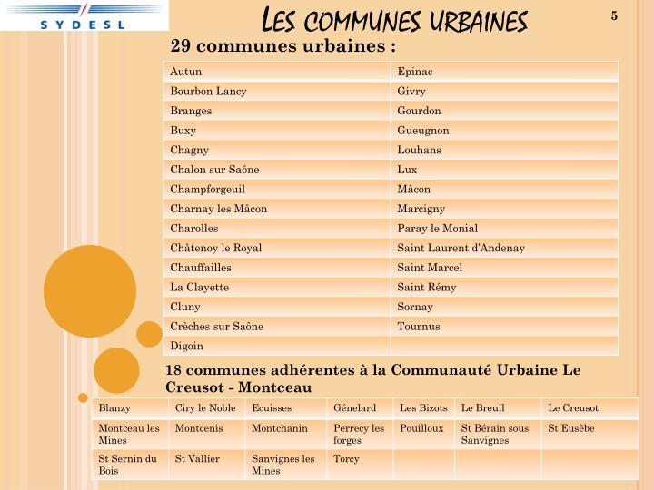 Les communes urbaines