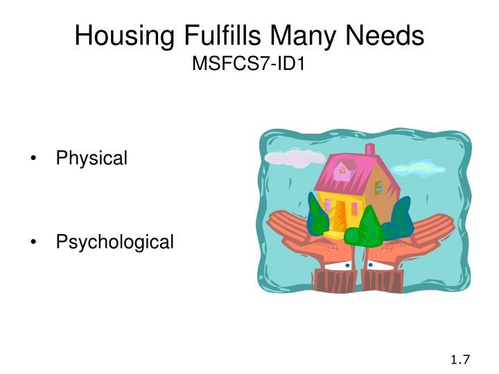 Housing Fulfills Many Needs