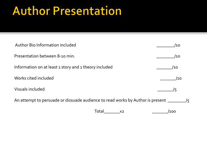 Author Presentation