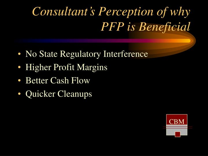 Consultant's Perception of why PFP is Beneficial