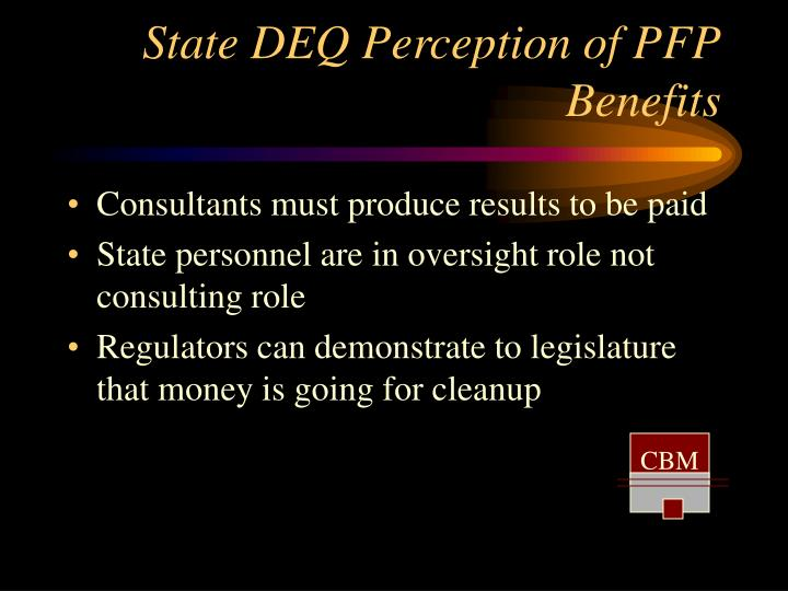 State deq perception of pfp benefits