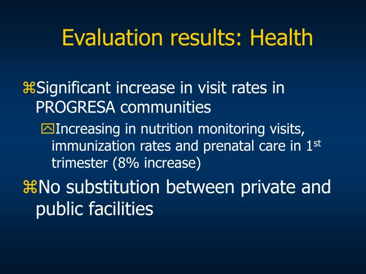 Evaluation results: Health