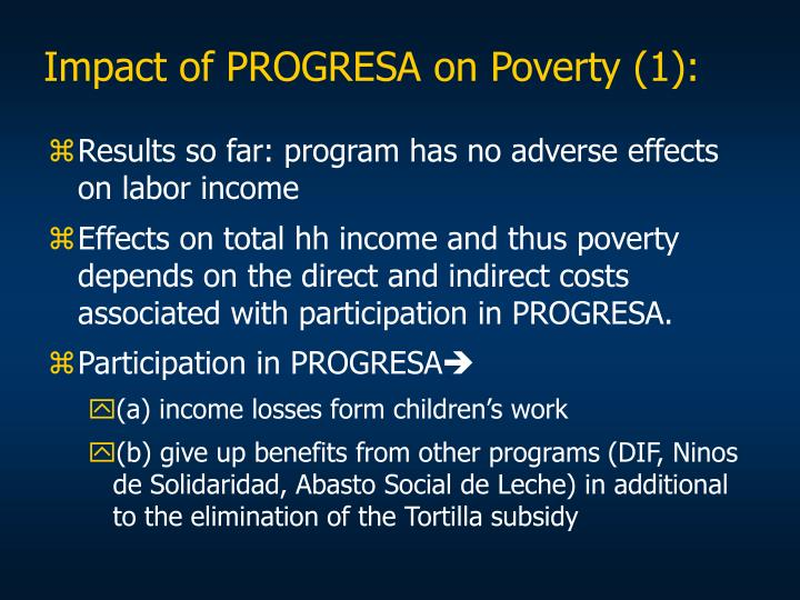 Impact of PROGRESA on Poverty (1):