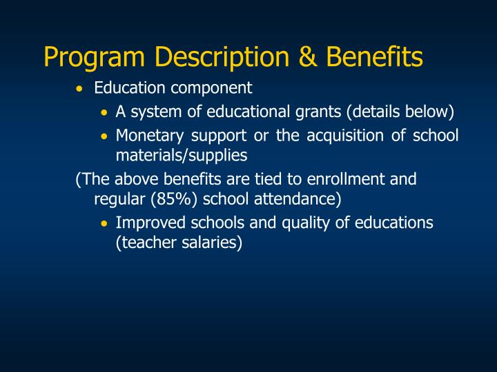 Program Description & Benefits