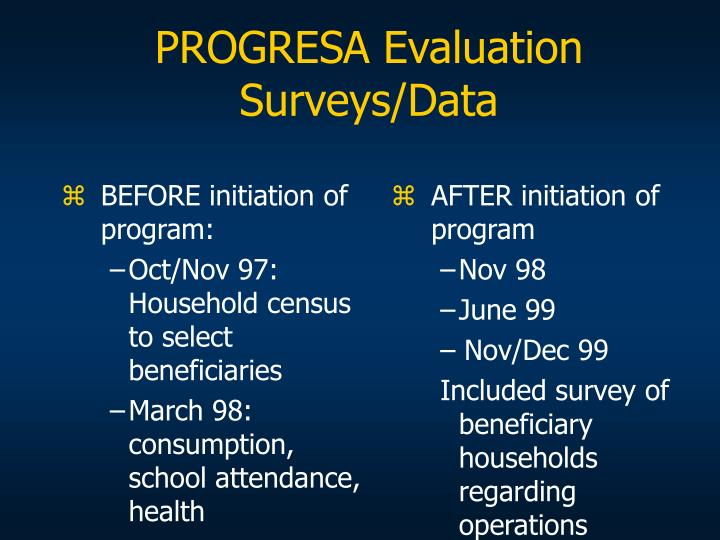PROGRESA Evaluation Surveys/Data