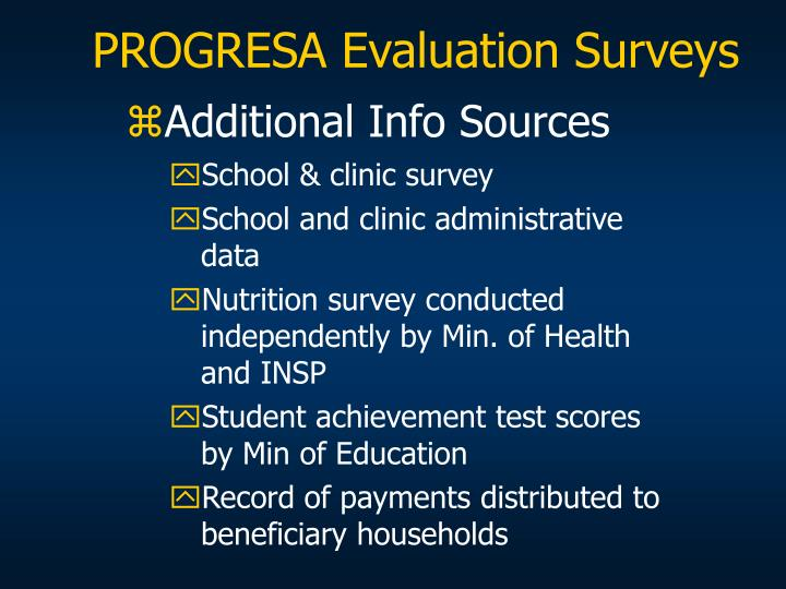 PROGRESA Evaluation Surveys