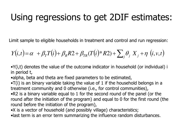 Using regressions to get 2DIF estimates:
