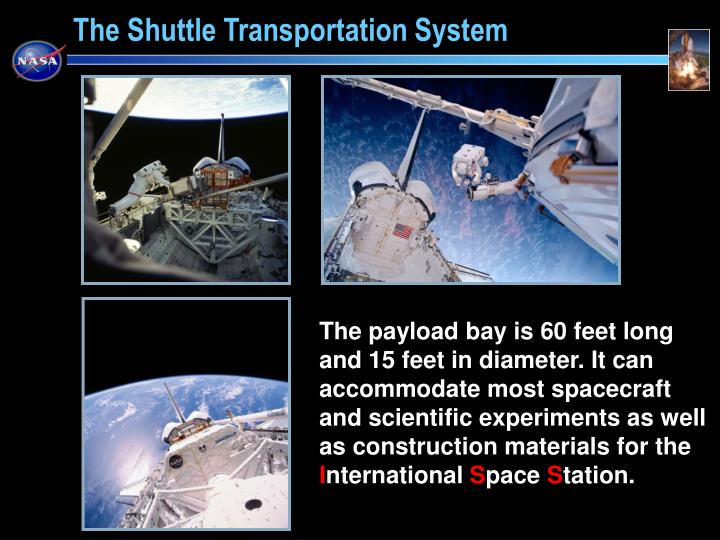 The payload bay is 60 feet long and 15 feet in diameter. It can accommodate most spacecraft and scientific experiments as well as construction materials for the