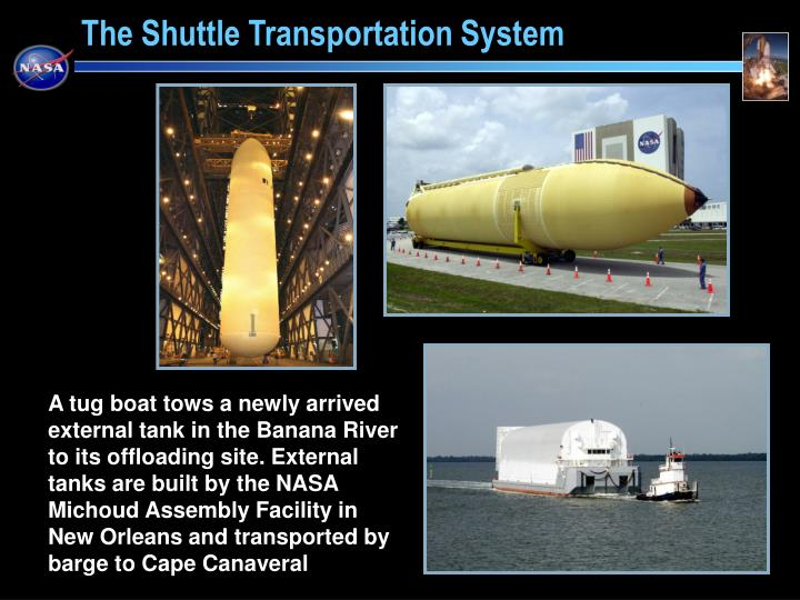 A tug boat tows a newly arrived external tank in the Banana River to its offloading site. External tanks are built by the NASA Michoud Assembly Facility in New Orleans and transported by barge to Cape Canaveral