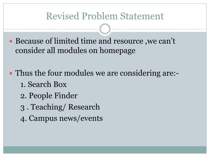 Revised Problem Statement
